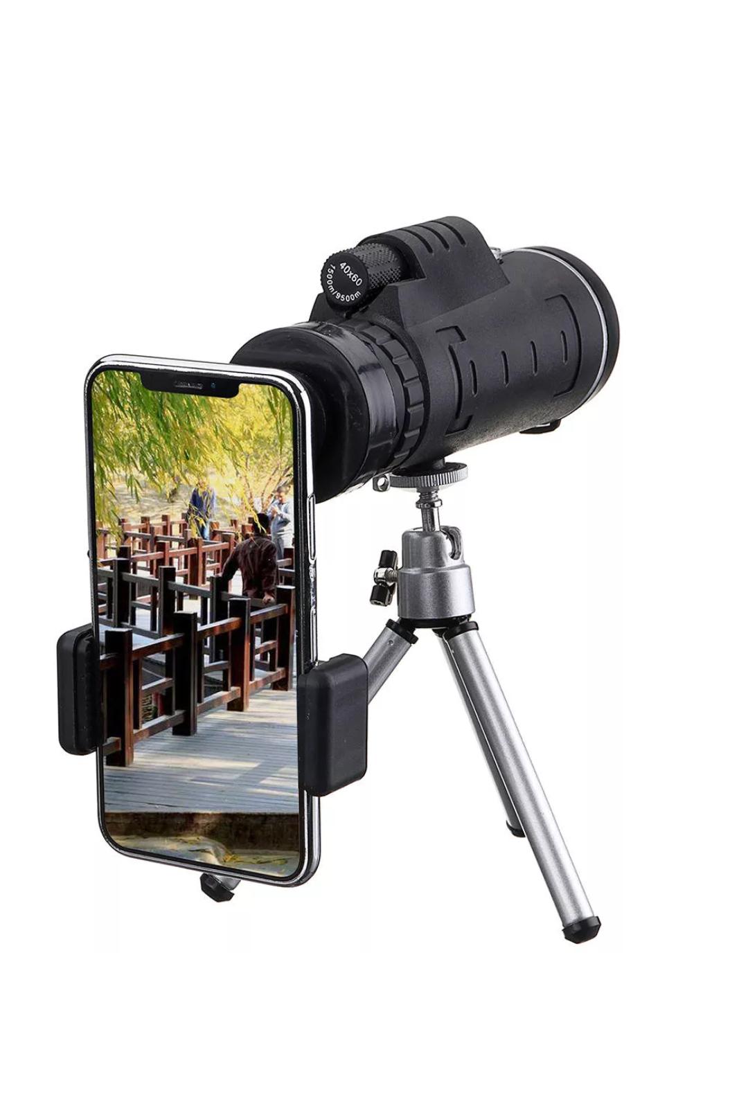 Télescope optique monoculaire HD 40X60 + Trépied + Clip pour téléphone portable
