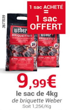 2 Packs de Briquettes Weber - 2x 4Kg (Ma Jardinerie)