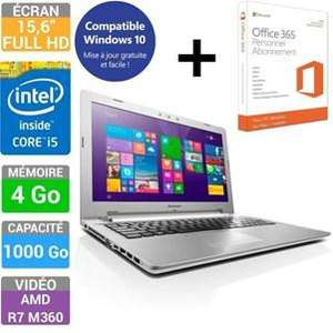 "PC Portable 15.6"" Lenovo Z51-70 (Intel Core i5 5200U, 4Go RAM, 1To HDD, AMD XT R7 M360) + Office 365 1 an"