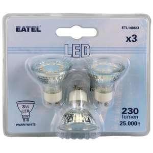 3 ampoules LED GU10 Eatel