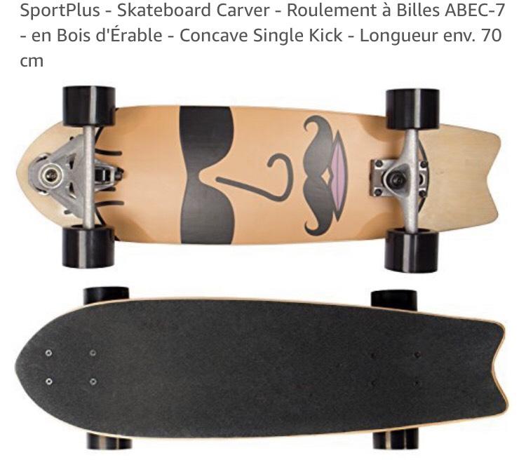 Skateboard Carver SportPlus Concave Single Kick en Bois d'Érable - ABEC-7
