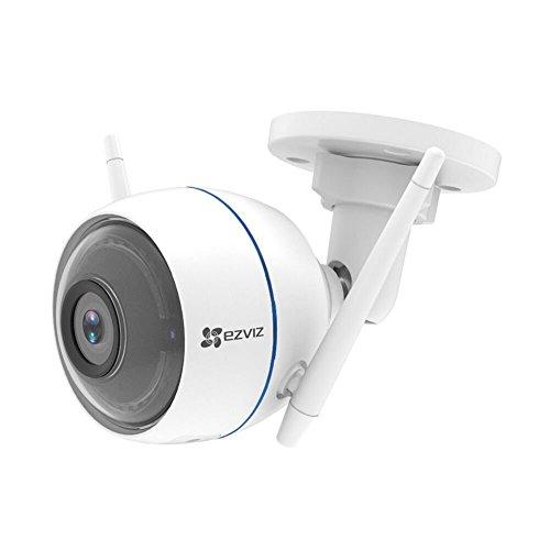 Caméra d'extérieur sans-fil Ezviz - 1080p, Distance Focale 2.8mm, Sirène et lampe flash intégrées, Blanc