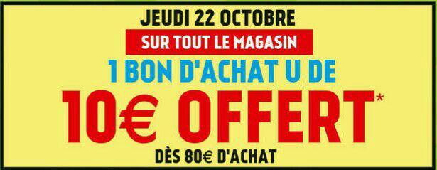 10€ offerts en bons d'achats dès 80€ d'achats