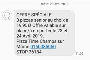 3 Pizza Senior à emporter - Pizza times Champs sur marne (77)