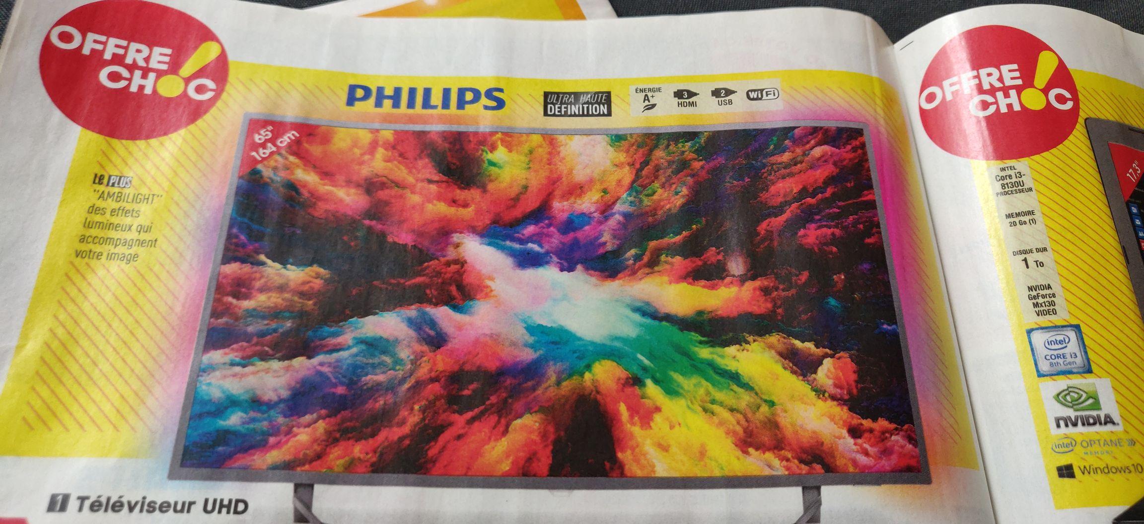"TV 65"" Philips 65PUS6753 - LED, 4K UHD, Ambilight 3 côtés"