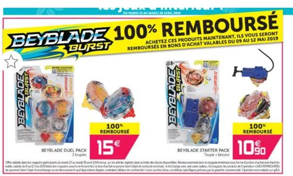 Sélection de toupis Beyblade gratuites (100% remboursés en bon d'achat)