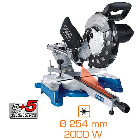 Scie àonglet radiale Scheppach Pro 2000W - Ø254 mm - laser - grande capacité de coupe