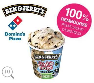Ben & Jerry's 500 mL offerte pour l'achat d'une pizza Domino's Pizza