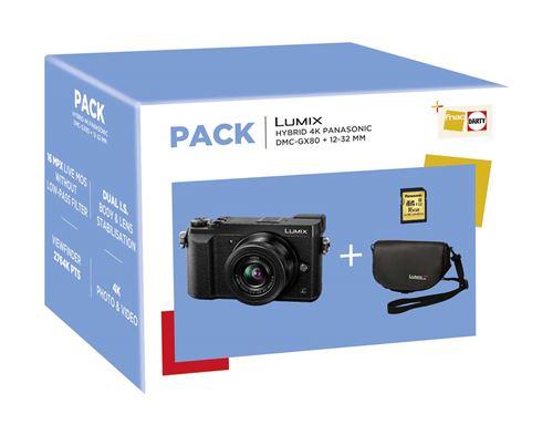 Appareil photo Hybride Panasonic Lumix DMC-GX80 Noir + Objectif 12-32 mm + Fourre-tout + Carte SD 8 Go