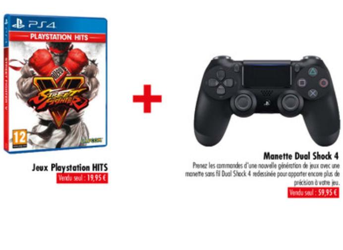 Manette sans-fil Sony Dual Shock 4 V2 pour PS4 + Jeu Playstation Hits au choix