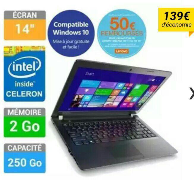 "PC portable 14"" Lenovo Ideapad 100-14-Celeron N2840, 2 Go de ram (via ODR 50€)"