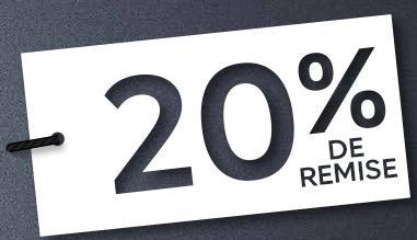 20% de réduction dès 60€ d'achat