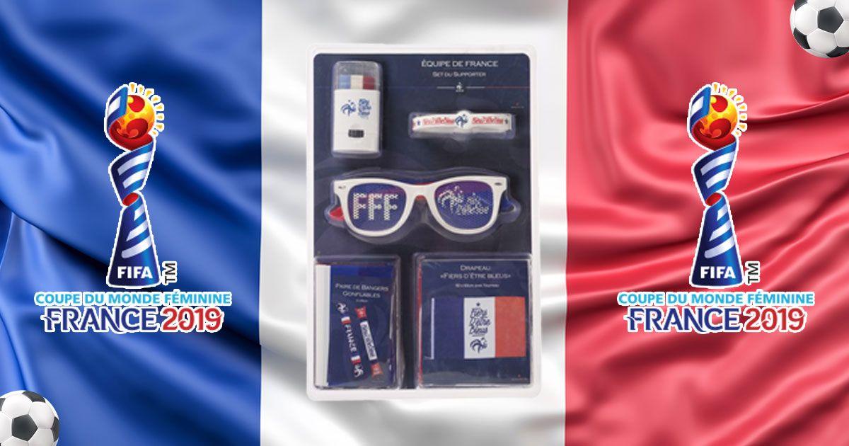 Kit supporter FFF :  Lunettes, maquillage, bracelet, paires de bangers gonflables, drapeau