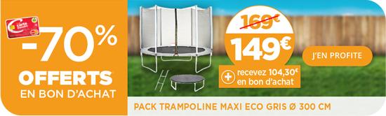 [Carte Bancaire Géant Casino] Pack trampoline maxi eco gris 3M (via 104.3€ bon d'achat)