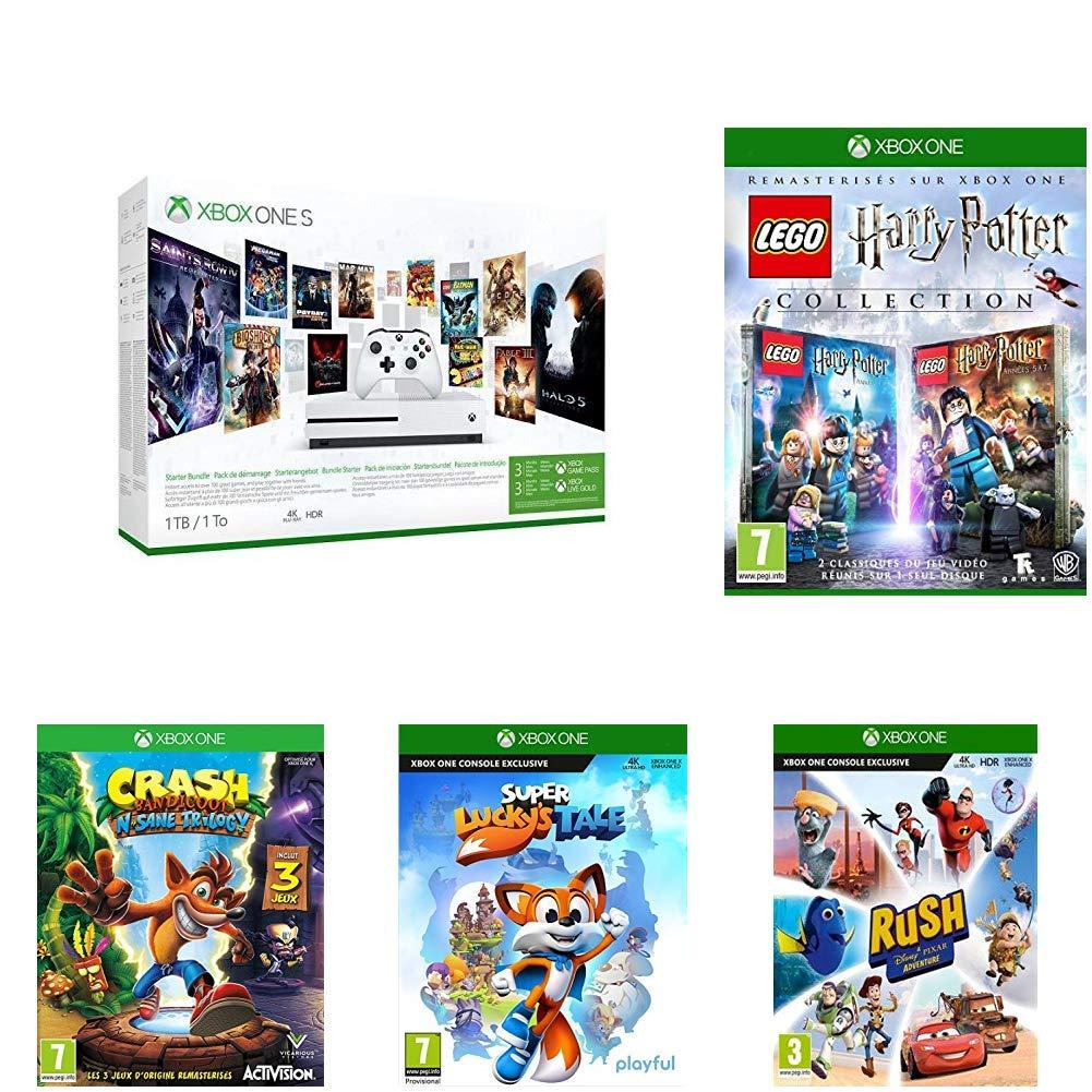 Pack Console Xbox One S (1 To) + Lego Harry Potter Collection + 4 Jeux + 3 mois d'abonnement Game Pass & 3 mois d'abonnement Live Gold
