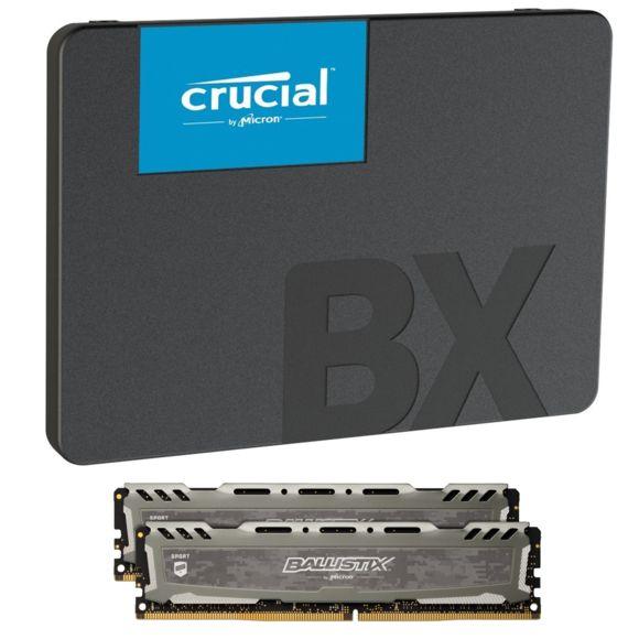 Kit mémoire RAM Ballistix Sport LT 16 Go (2x8), DDR4, 3000 MHz, CL15 + SSD Crucial BX500 - 480 Go