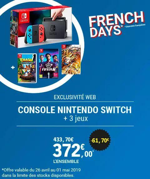 Console Nintendo Switch + 3 Jeux Vidéo