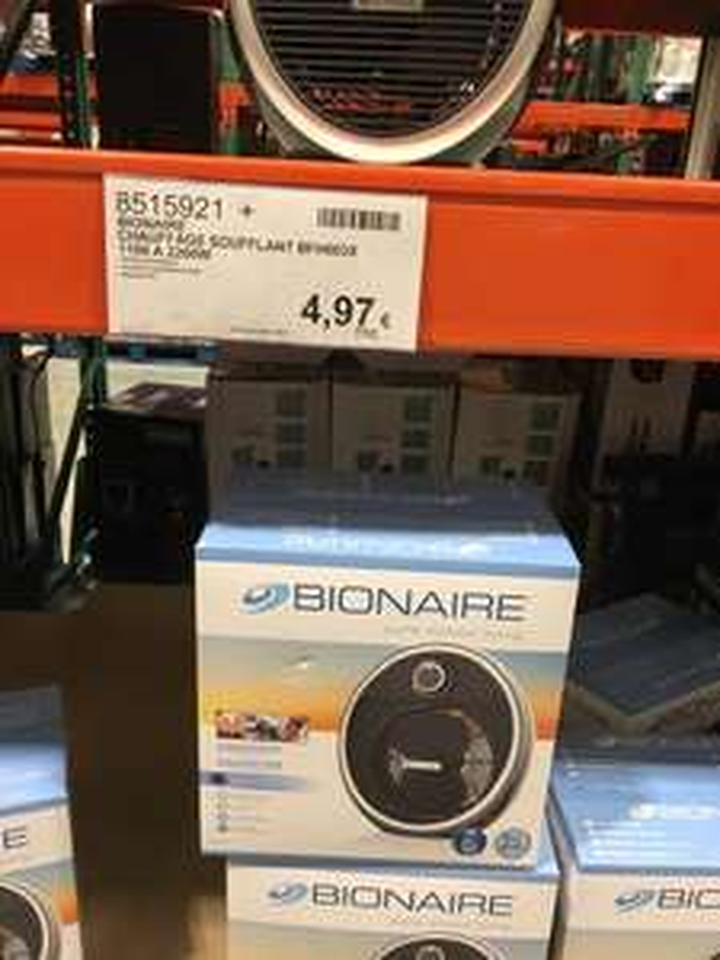 [Carte Costco] Chauffage d'appoint soufflant Bionaire BFH003X - 2200W, Noir (CostCo Villebon - 91)