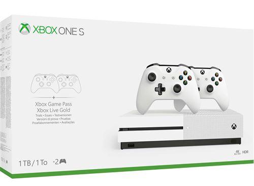 Console Microsoft Xbox One S 1 To + 2 Manettes + 30€ offerts pour les adhérents