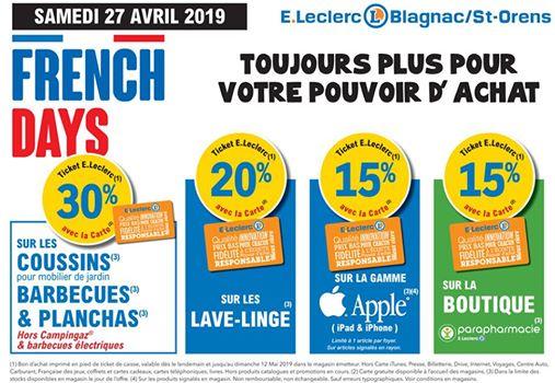 French Days : 30% de réduction sur les Coussins, Barbecues et Planchas - 15% de réduction sur Apple - Leclerc Blagnac & Saint-Orens (31)