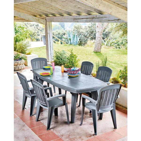 Pack Salon de jardin - 1 table extensible + 6 fauteuils Capri