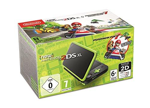 Pack Console New Nintendo 2DS XL Noir/Citron Vert + Mario Kart 7 Préinstallé