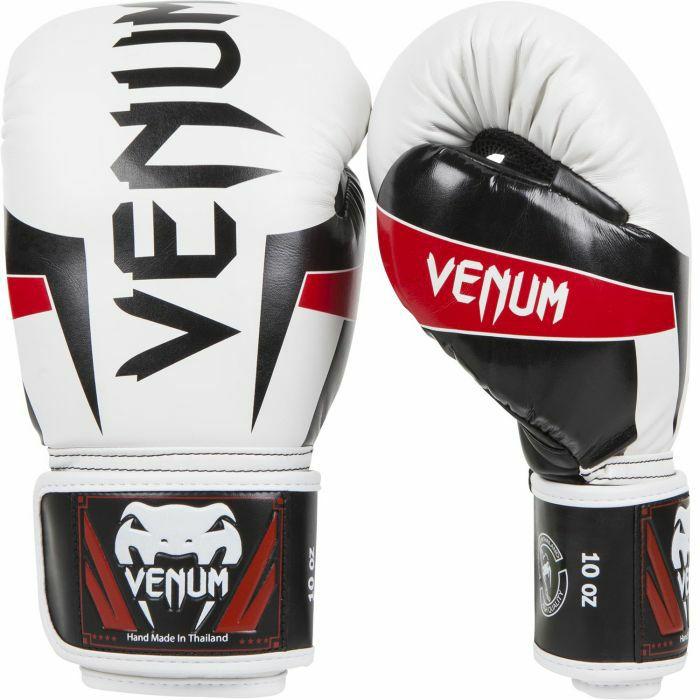 Gants de boxe Venum elite - Cuir skintex, Blanc/noir/rouge