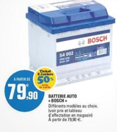 Batterie Bosch (avec 50% sur la carte)