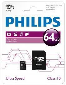 Carte mémoire micro SDXC Philips - 64 Go avec adaptateur