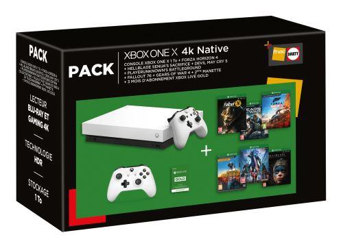 Pack Console Microsoft Xbox One X 1To + 2ème Manette + 6 Jeux + Abonnement Live Gold 3 mois (+ 30€ sur la carte pour les Adhérents)