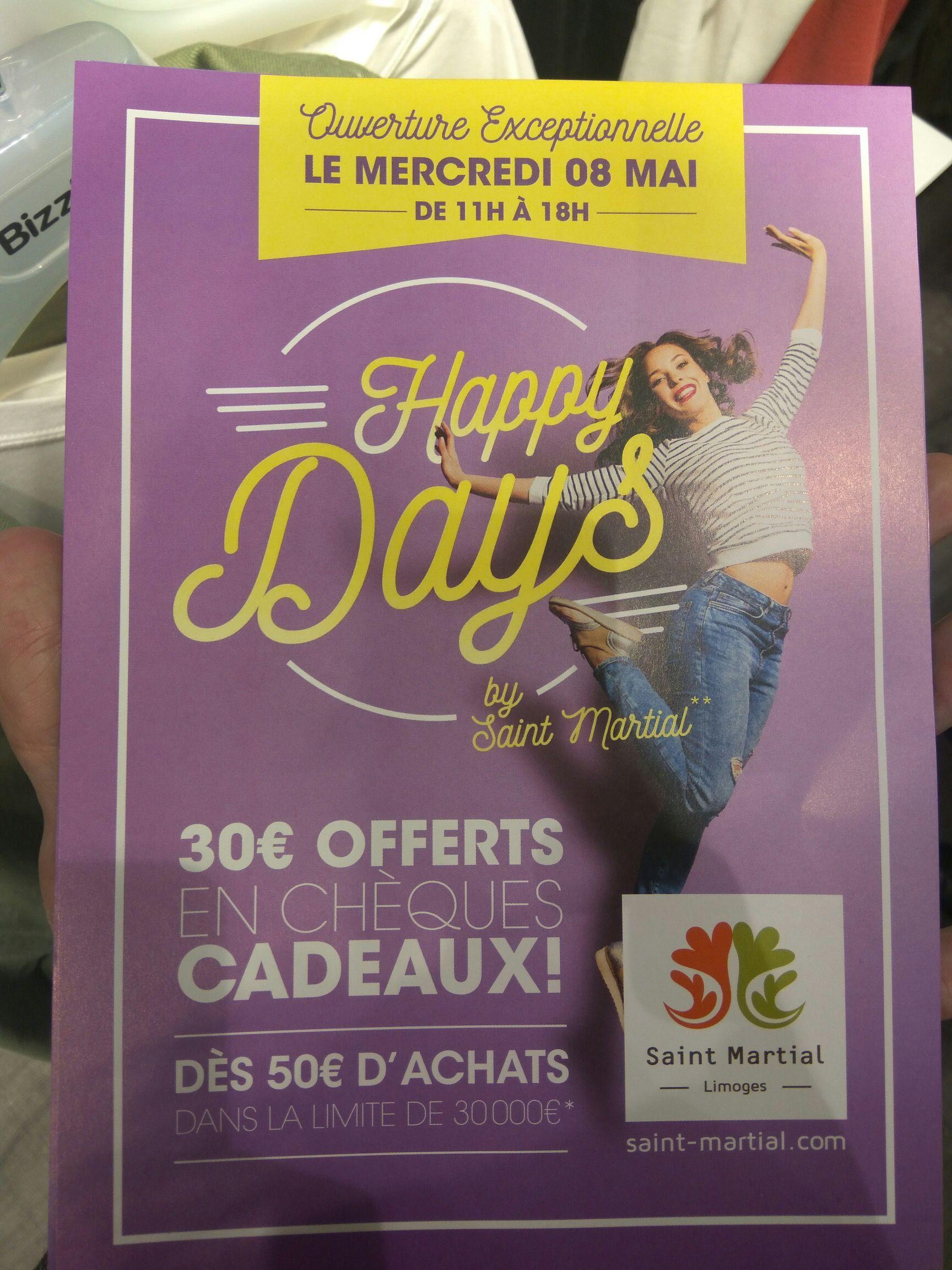 30€ offerts en chèques cadeaux dès 50€ d'achats - Centre commercial Saint Martial (Limoges - 87)