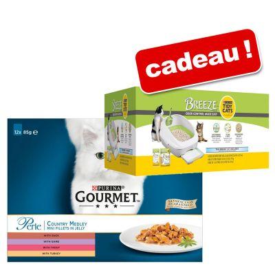 Pack de nourriture pour chat Gourmet perle 96x85g + kit complet purina breeze