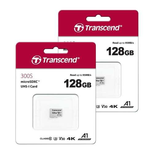 Lot de 2 cartes microSDXC Transcend UHS-I U3 V30 A1 Class 10 - 128 Go