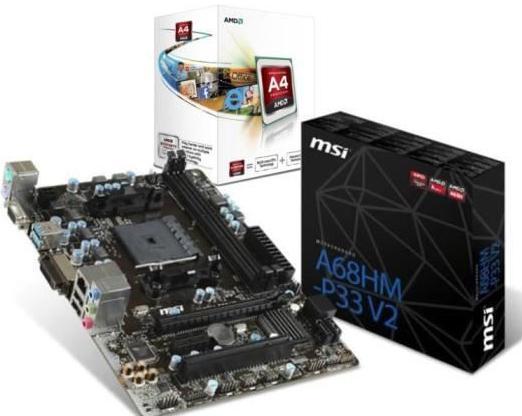 Kit AMD FM2+ : Carte mère MSI FM2-A68HM-P33 V2 + Processeur AMD A4 4000 3.0GHz