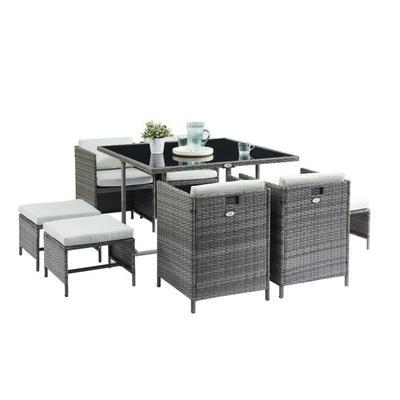 Salon de jardin Carioca2 (Table en verre + 4 fauteuils et 4 poufs en ...