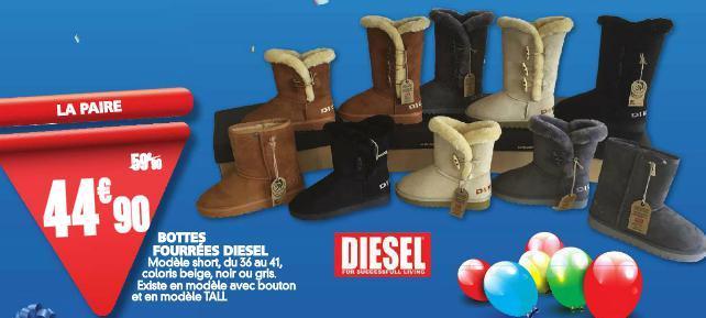 Sélection de produit - Ex : Bottes fourrées Diesel - Taille 36 à 41