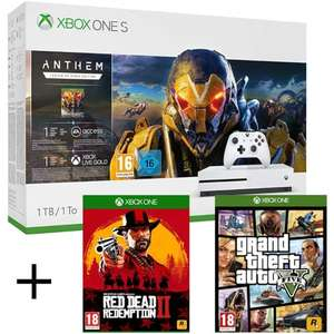 Pack Console Microsoft Xbox One S (1 To) + Anthem + Red Dead Redemption 2 + GTA 5