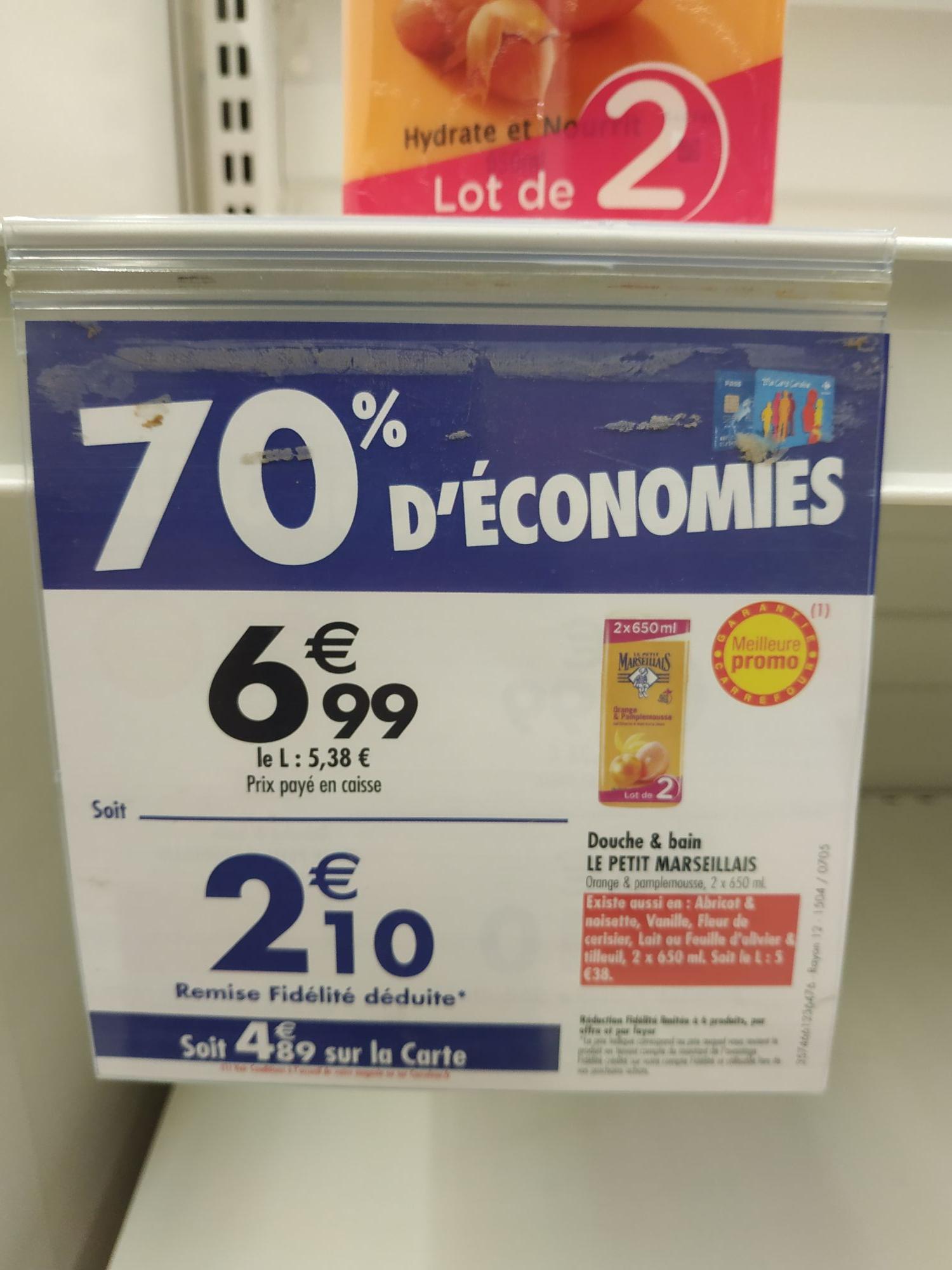 Lot de 2 Gels douche Petit Marseillais - 2 x 650 ml (via 4.89€ sur le carte fidélité) - Monterau (77)