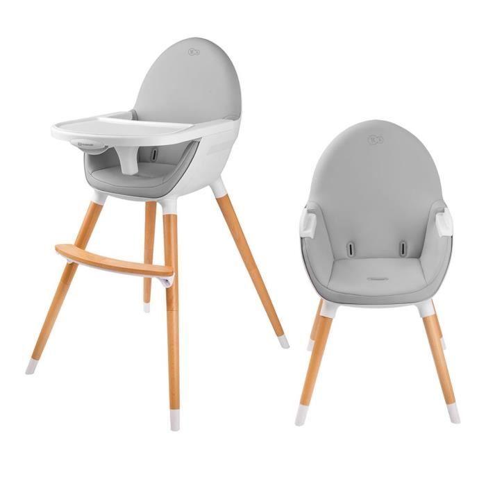 Chaise haute ergonomique Tanuki en Bois pour Bébé - 2 Positions (Blanc)