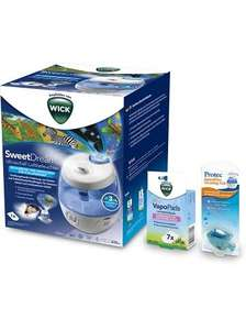 Pack humidificateur d'air avec projecteur lumineux Sweet Dreams, VapoPads & poisson purifiant WICK