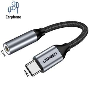 Adaptateur Ugreen USB-C vers Jack 3.5mm - Gris/Noir (via l'Application)
