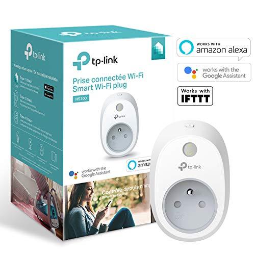 Prise connectée Wi-Fi TP-Link HS100(FR) - Compatible avec Google Home / Amazon, Blanc