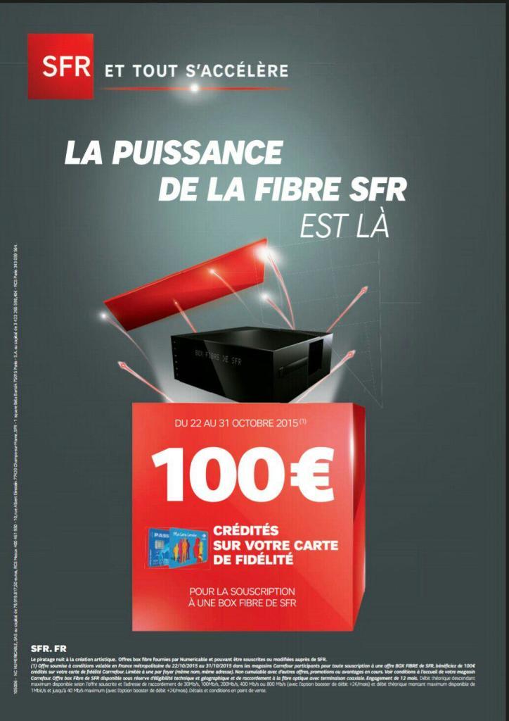 100€ crédités sur la carte carrefour pour toute souscription à une offre Box Fibre de SFR