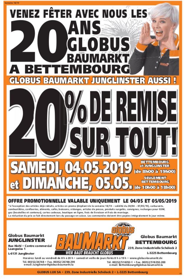 20% de réduction sur tout le magasin - Globus Baumarkt (Frontaliers Luxembourg)