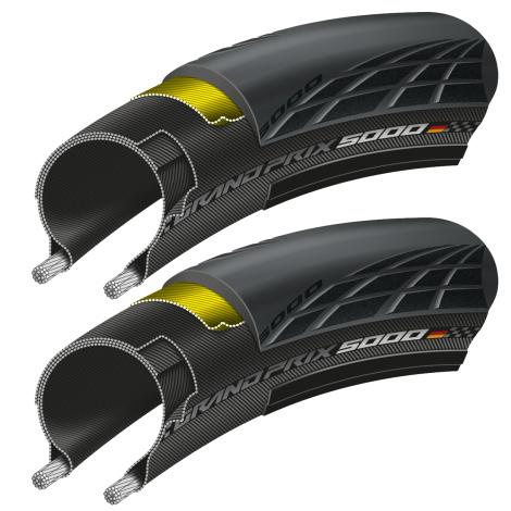 Paire de Pneus Vélo Route Continental GP5000 avec Chambres à Air - Tailles au choix