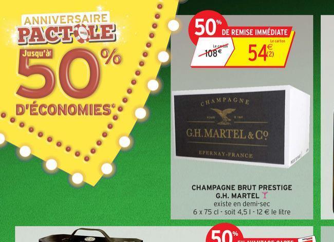 Carton de 6 bouteilles Champagne GH Martel Brut Prestige