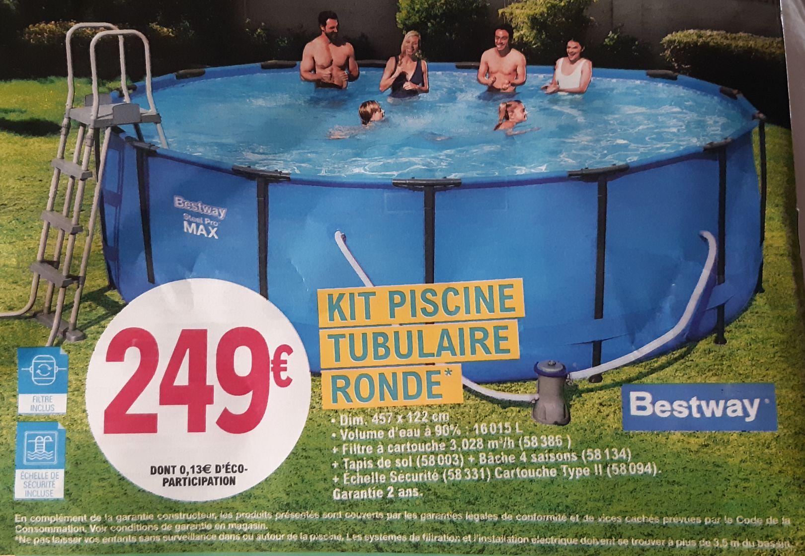 Kit piscine tubulaire Ronde bestway steel pro max 457x122