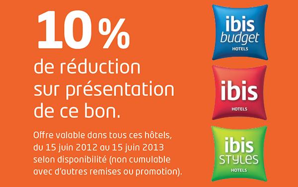 -10% de remise sur certains Hôtels IBIS