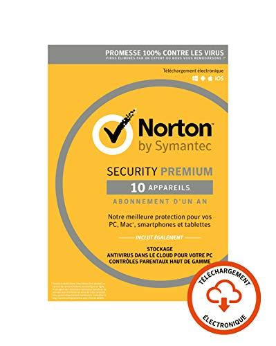 Antivirus Norton Security 2019 Premium (10 postes, 1 an - Dématérialisé)