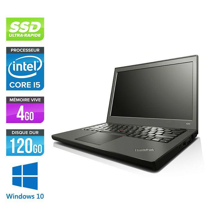 "PC Portable 12"" Lenovo ThinkPad X240 -  HD, Core i5-4300U, 4 Go RAM DDR3, 120 Go SSD, Windows 10 (Reconditionné)"